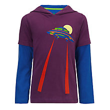 Buy John Lewis Boy Long Sleeve Hooded Flying Saucer Top, Purple Online at johnlewis.com