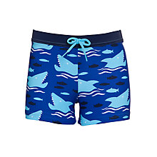 Buy John Lewis Boy Shark Fish Swimming Trunks, Blue/Multi Online at johnlewis.com