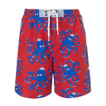 Buy John Lewis Boy Octopus Boardie Shorts, Red Online at johnlewis.com