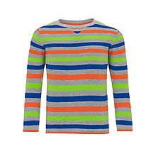 Buy John Lewis Boy Long Sleeve Striped Top, Grey/Multi Online at johnlewis.com