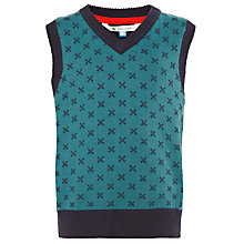 Buy John Lewis Boy Knitted Vest, Teal/Navy Online at johnlewis.com