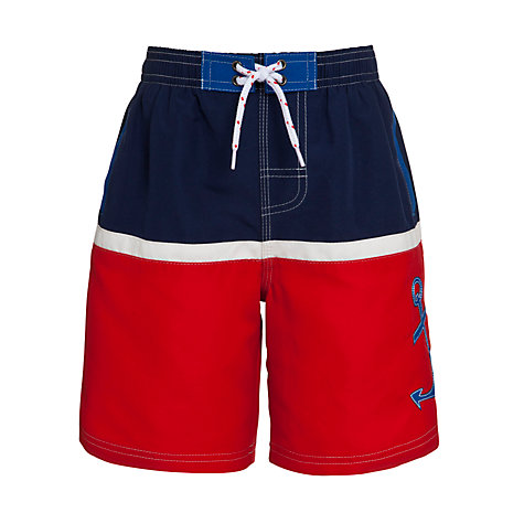 Buy John Lewis Boy Anchor Board Shorts, Red/Navy Online at johnlewis.com