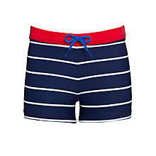 Buy John Lewis Boy Stripe Swimming Trunks, Navy/Red Online at johnlewis.com