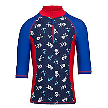 Buy John Lewis Boy Skull Panelled Rash Vest, Blue/Red Online at johnlewis.com
