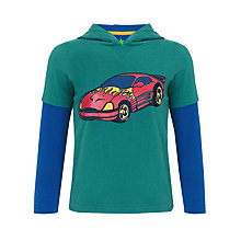 Buy John Lewis Boy Hooded Racing Car Top, Green Online at johnlewis.com