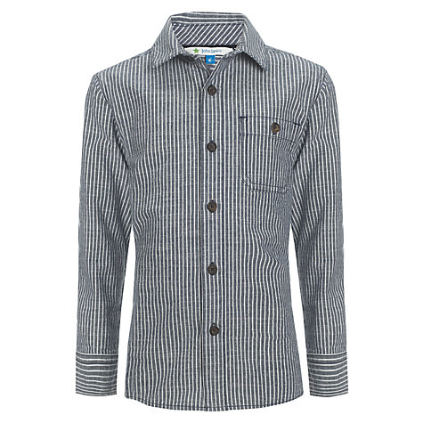 Buy John Lewis Boy Long Sleeve Stripe Shirt, Navy Online at johnlewis.com