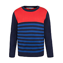 Buy John Lewis Boy Multistripe Knit Jumper, Blue/Red Online at johnlewis.com
