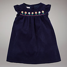 Buy John Lewis Embroidered Flower Corduroy Dress, Navy Online at johnlewis.com