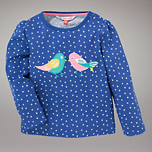 Buy John Lewis Polka Dot Bird Long Sleeve Top, Blue Online at johnlewis.com