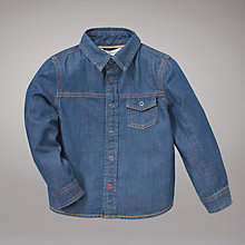 Buy John Lewis Long Sleeve Denim Shirt, Blue Online at johnlewis.com