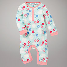 Buy John Lewis Swan and Flowers Sleepsuit, Blue/Pink Online at johnlewis.com