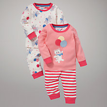 Buy John Lewis Kitten and Balloon Pyjamas, Pack of 2, Pink/Cream Online at johnlewis.com