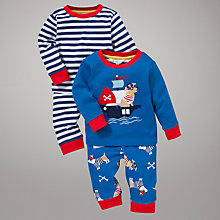 Buy John Lewis Baby Pirate Dogs Pyjamas, Pack of 2, Blue/Red Online at johnlewis.com