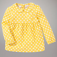 Buy John Lewis Spot Collar Long Sleeve Top, Yellow Online at johnlewis.com