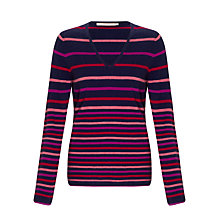 Buy John Lewis Striped V-Neck Cashmere Jumper, Navy/Pink Online at johnlewis.com