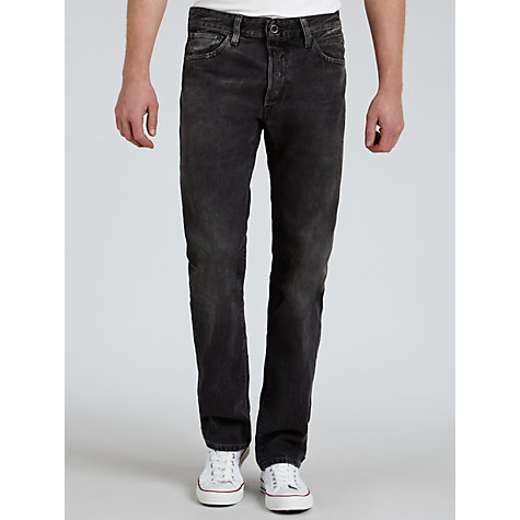 Buy Replay Lenrick Laser Straight Leg Jeans, Dark Grey Online at johnlewis.com