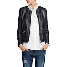 Buy Mango Zipper Leather Jacket, Dark Blue Online at johnlewis.com