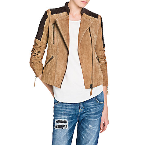 Buy Mango Combi Leather Jacket, Beige Online at johnlewis.com
