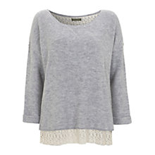 Buy Mint Velvet Lace Hem Jumper, Grey Online at johnlewis.com