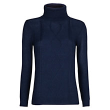 Buy Mango Cable Turtleneck Sweater, Navy Online at johnlewis.com