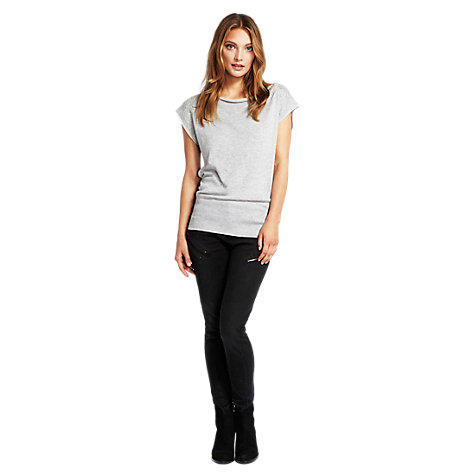Buy Mint Velvet Beaded Sleeve T-Shirt, Grey Online at johnlewis.com