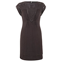 Buy Mint Velvet Crinkle Embroidered Dress, Purple Online at johnlewis.com