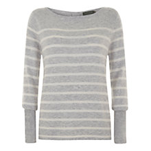 Buy Mint Velvet Stripe Knit Jumper, Grey Online at johnlewis.com