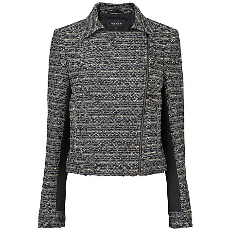 Buy Jaeger Linton Tweed Biker Jacket, Grey / Black Online at johnlewis.com