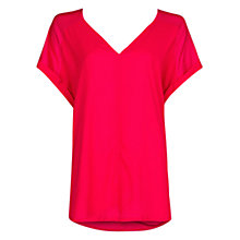 Buy Mango Double V-Neck T-Shirt, Medium Pink Online at johnlewis.com