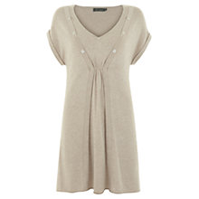 Buy Mint Velvet Button Tunic Top, Neutral Online at johnlewis.com