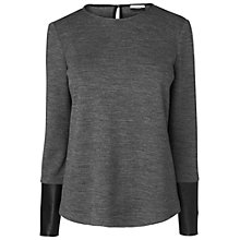 Buy Jaeger Leather Sleeve Top, Charcoal Online at johnlewis.com