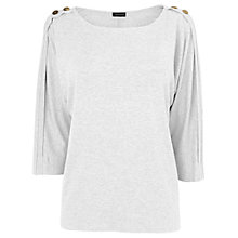 Buy Jaeger Gold Button Tunic, White Online at johnlewis.com