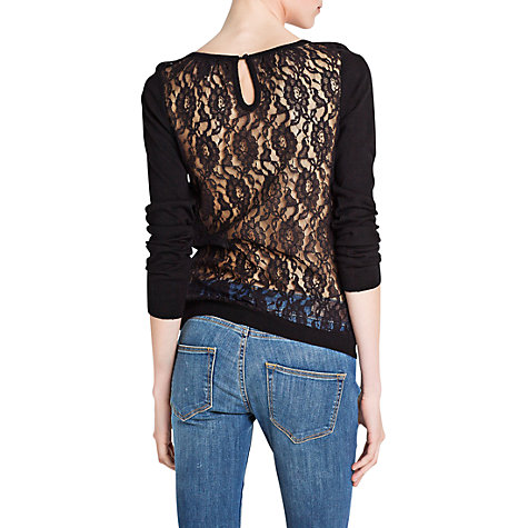 Buy Mango Back Lace Sweater, Natural White Online at johnlewis.com