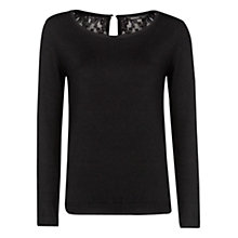 Buy Mango Back Lace Jumper, Black Online at johnlewis.com