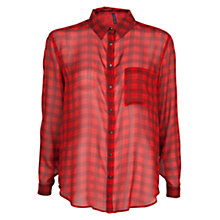 Buy Mango Checked Chiffon Shirt, Bright Red Online at johnlewis.com