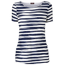 Buy Phase Eight Pleated Stripe Top, Navy/Ivory Online at johnlewis.com