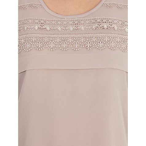 Buy Warehouse Lace Trim Satin Top, Mink Online at johnlewis.com