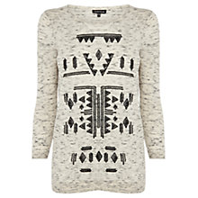 Buy Warehouse Aztec Space Top, Light Grey Online at johnlewis.com