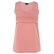 Buy Warehouse Lace Trim Vest, Light Pink Online at johnlewis.com