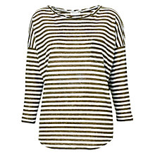 Buy Whistles Lacie Linen Stripe Top, Khaki Online at johnlewis.com