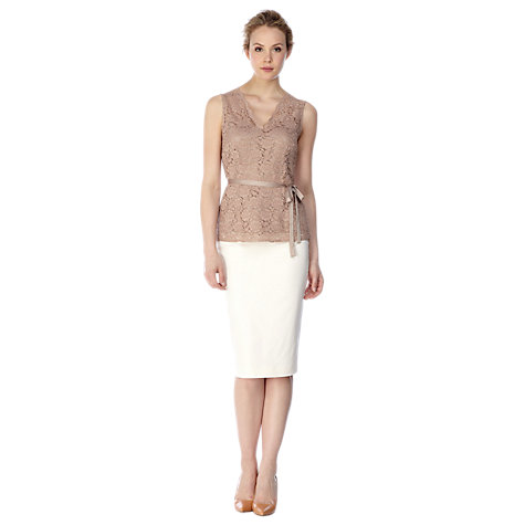 Buy Kaliko Zip Back Pencil Skirt, Ivory Online at johnlewis.com