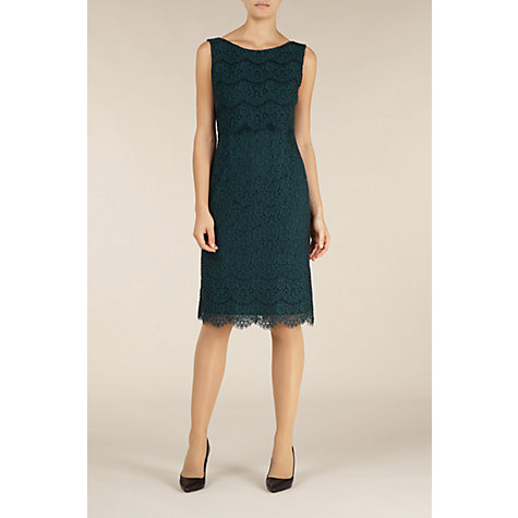 Buy Alexon Lace Layered Dress, Green Online at johnlewis.com