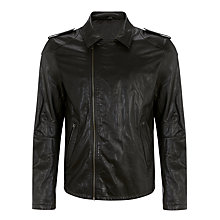 Buy Selected Homme Salvador Leather Biker Jacket Online at johnlewis.com