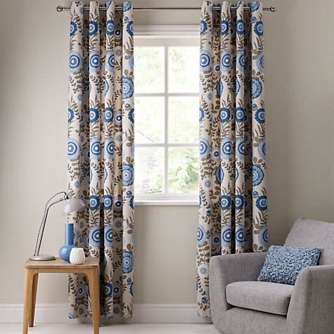 Buy John Lewis Aster Garden Lined Eyelet Curtains, Blue Online at johnlewis.com