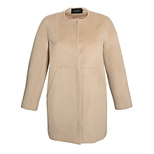Buy Tara Jarmon Collarless Coat, Mocha Online at johnlewis.com