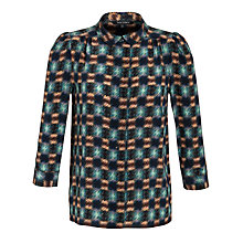 Buy Tara Jarmon Peter Pan Print Blouse, Bleu Canard Online at johnlewis.com
