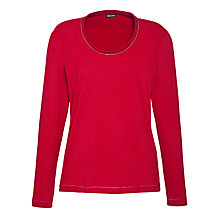 Buy Gerry Weber Bead Detail Jersey Top, Red Online at johnlewis.com