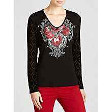 Buy Gerry Weber Devore Sleeve Top, Black/Red Online at johnlewis.com