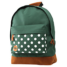 Buy Mi-Pac Polka Dot Backpack, Green Online at johnlewis.com