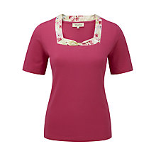 Buy Viyella Foxglove Trim T-Shirt, Peony Online at johnlewis.com